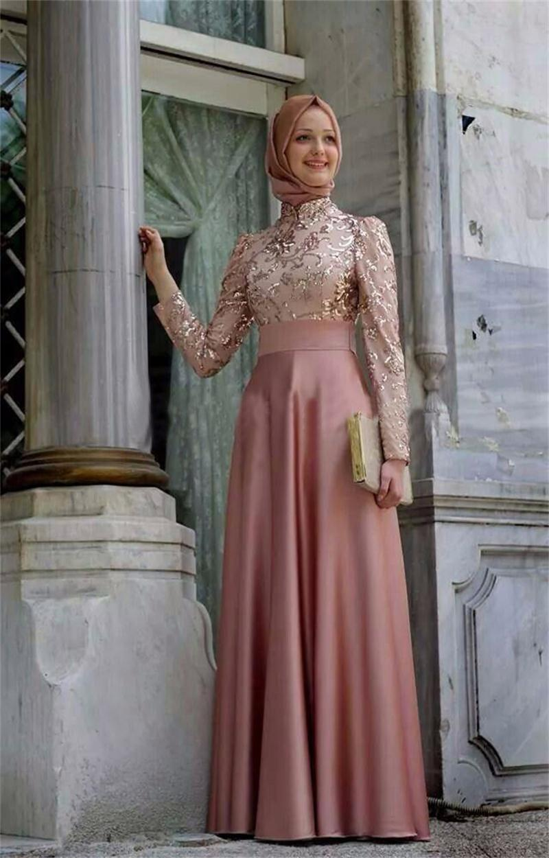 2016 Muslim Evening Dresses A-line Long Sleeves Pink Embroidery Hijab Islamic Dubai Abaya Kaftan Long Evening Gown Prom Dress D9