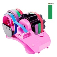 Auto Tape Dispenser with 46mm Fixed Length Tape Cutter and Free Length Cutter School Stationary Scrapbooking Tools, Random Color