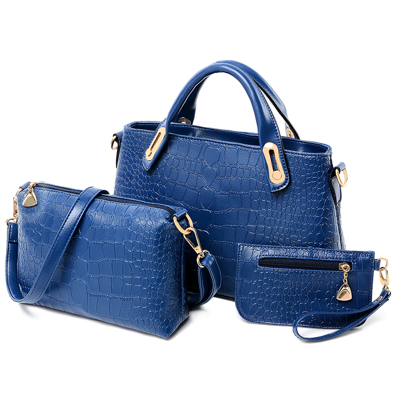 3 Pcs/Set Vintage Handbags and Purse Women Messenger Bags Female Solid Shoulder Bags Office Lady Casual Tote PU Top-Handle Bag ladylike women s tote bag with solid color and daisy embossing design