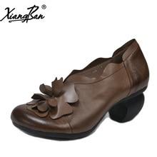 цена Xiangban women shoes high heel round head vintage leather ladies pumps shoes plus size 41 42 K361508 онлайн в 2017 году
