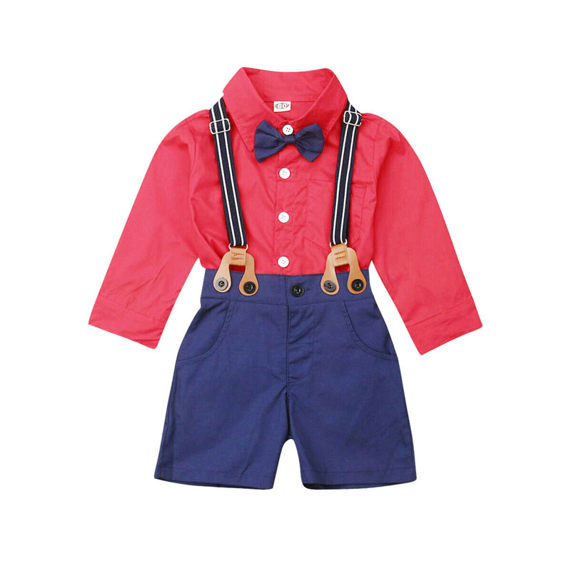2PCS Newborn Toddler Infant Kids Baby Boy Gentleman Clothes Set Bow Tie Tops T-shirt+Bib Pants Outfit 1-6T(China)