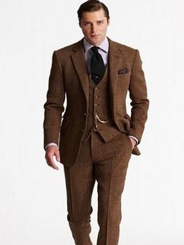 ... marrón traje de Tweed de los hombres trajes de boda novio esmoquin 3  unidades Formal hombres traje de Ternos Masculio chaqueta + pantalones +  chaleco 1bfc54974a0e
