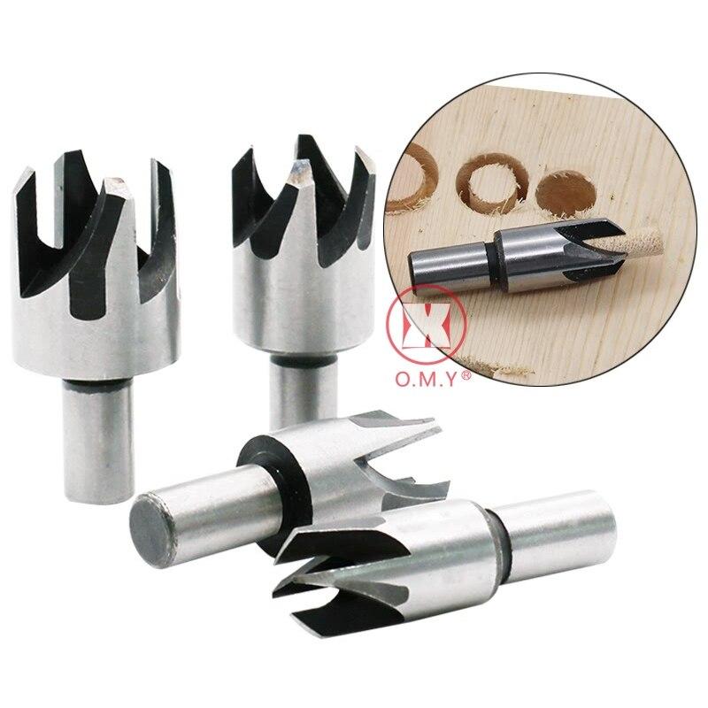 Wood Plug Cutter Cutting Tool Set Tapered Taper Drill Bit Dowel Maker Tool Shank Drill Bit Four-Tooth Tenon Plug Hole Cutter 4pc 6mm drill bit 145mm cutting diameter