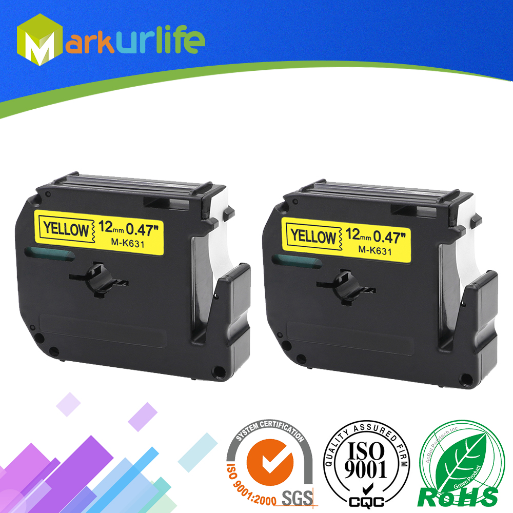 2 PCS/Lot M-K631 Compatible Brother P-touch M Tapes Label cartridge M-K631 MK631 M631 for Brother P touch printer PT100 PT65