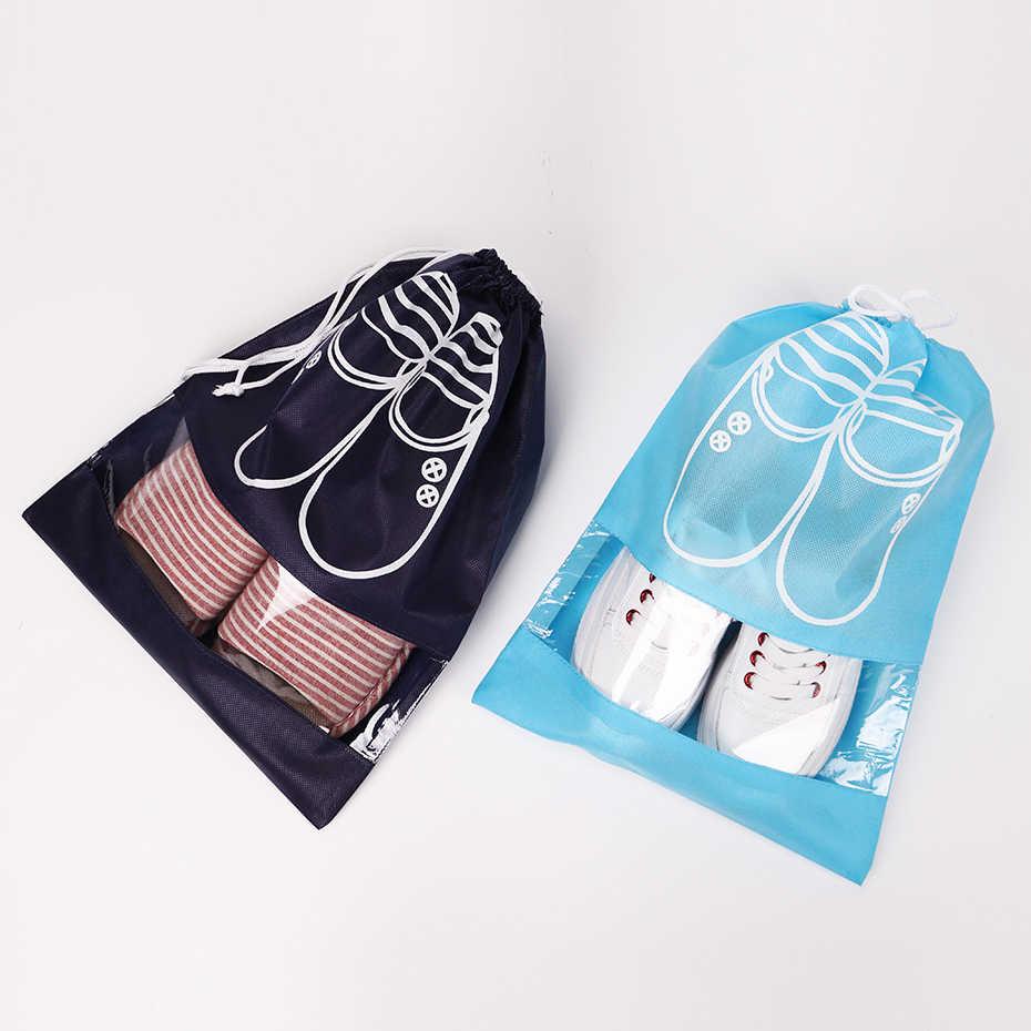 Bolsa de almacenamiento de viaje bolsa de zapatos no tejida portátil con cordón a prueba de polvo bolsa útil accesorios de viaje