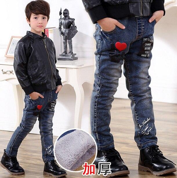 Новая зимняя мода брюки дети детские джинсы промывают джинсовые брюки мальчиков дикие удобные толстые
