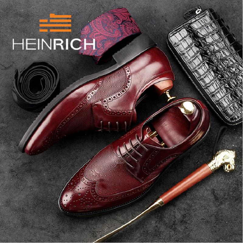 HEINRICH Genuine Leather Shoes Male Pointed Toe Men Dress Shoes Top Quality Men Leather Brown Black Formal Office Shoes new 2018 fashion men dress shoes genuine leather pointed toe male wedding shoes autumn men office formal shoes yj a0029