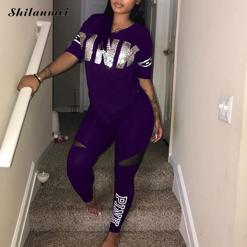 b4fbc572248 Pink Letter Print Tracksuits Women Two Piece Set 2018 Spring Plus Size T-Shirt  Top And Pants ...