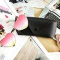 New moda en forma de corazón gafas de sol más caja de vidrios mujeres hombres espejo gafas de sol de metal reflectante lente de sol glassese