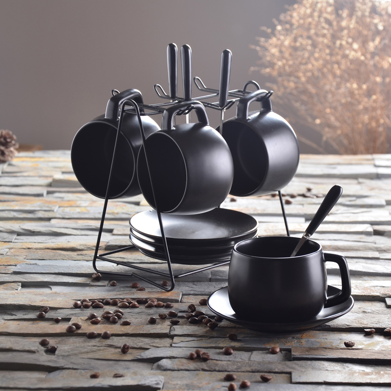 Coffee cup set simple European ceramic household coffee tea with spoon black 2 piece office drinkware