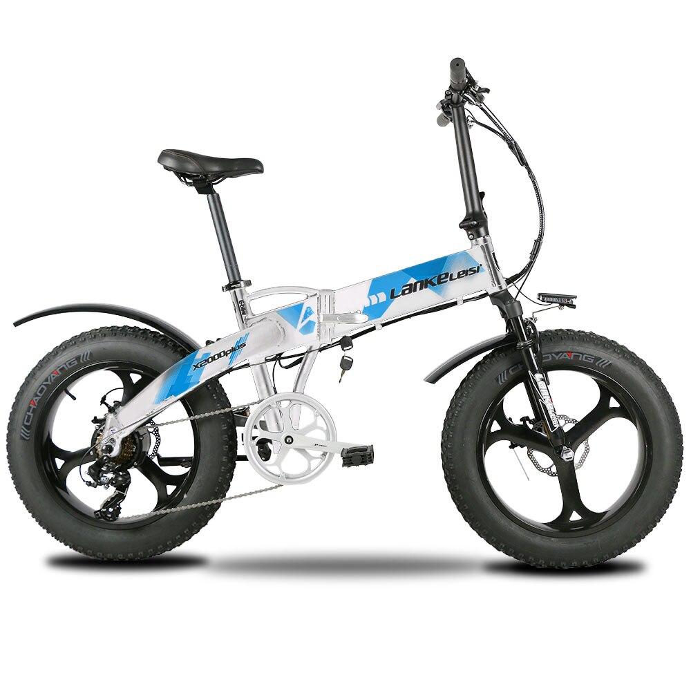 Lankeleisi X2000Plus Pneu Gordura Bicicleta Elétrica Ebike 7 48 V 12.8A Velocidades Completa Suspensão Dobrável 500 W Motor Bateria De Lítio E moto-