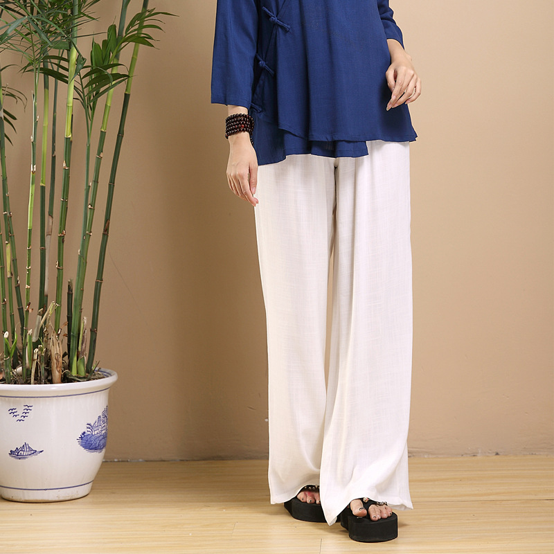 Makuluya New Arrivals Nature Linen   Pants   Elastic Waist Loose Trousers Solid Straight   Wide     Leg     Pants   Summer Cool Casual   Pants   QW