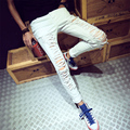 2016 Skinny Jeans Hombres Diseñador Slim Fit Jeans Ripped Jeans Buena Calidad Blanco MB16246A