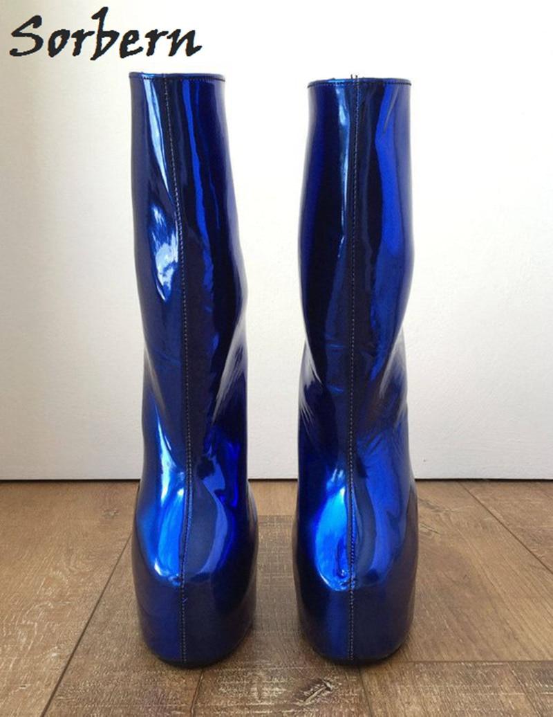 Per Royal Colori Color Piattaforma Della Zoccoli Personalizzati Breve Senza Le Donne Vitello Stivali Blue Signore Tacco Largo Metallic Scarpe custom Stivaletti Sorbern Blu d7BwxnIqaI