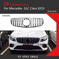For Mercedes Benz GLC Class X253 GT Grille Vertical Style Front Bumper Racing Grill 2016 2018 Coupe SUV GLC43 GLC200 GLC260