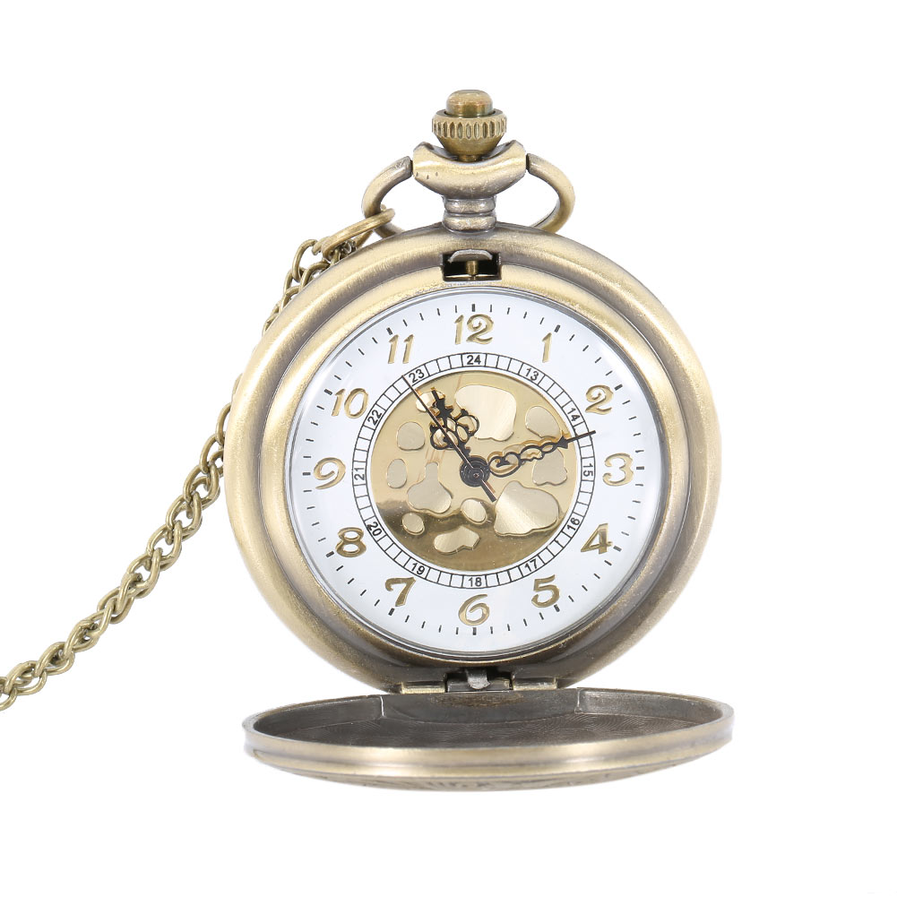 Antique Vintage Roman Number Quartz Pocket Watch Round Case Pendant Necklace Chain Clock Gifts LXH new soviet sickle hammer style quartz pocket watch men women vintage bronze pendant necklace pendant clock with chain