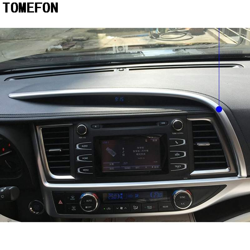 TOMEFON ABS Chrome Front Console Navigation Screen Bar Trim Auto Styling For Toyota Highlander Kluger XU50 2014 2015 2016 2017