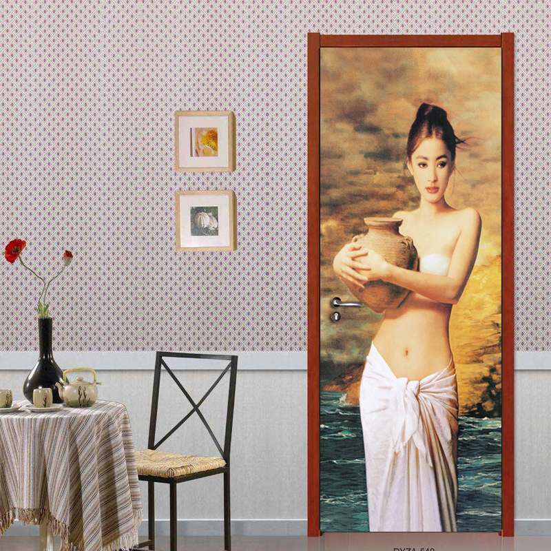 European Hand-painted Figure Beauty Art Oil Painting Wall Mural Self-adhesive Living Room Bedroom Door Sticker Wall Paper Photo iarts hand painted abstract conjoined palnt oil painting red 80 x 40cm