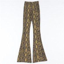 National Snake Print Flare Pants Female African Yellow Snakeskin Print Pants Low Waist Flare Pants Elastic Leggings Hippie Pants