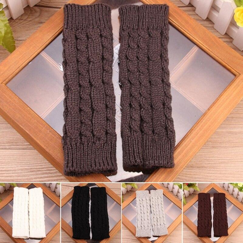 Hommes femmes mitaines sans doigts doux tricoté chaud Long mitaines poignet plus chaud hiver