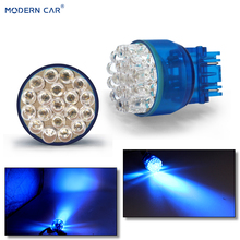 MODERN CAR 1pcs T20 LED Lamp For Auto 7443 25SMD Daytime Running Light Turn Signal Light Blue Green White Stop Brake Tail Bulb цена