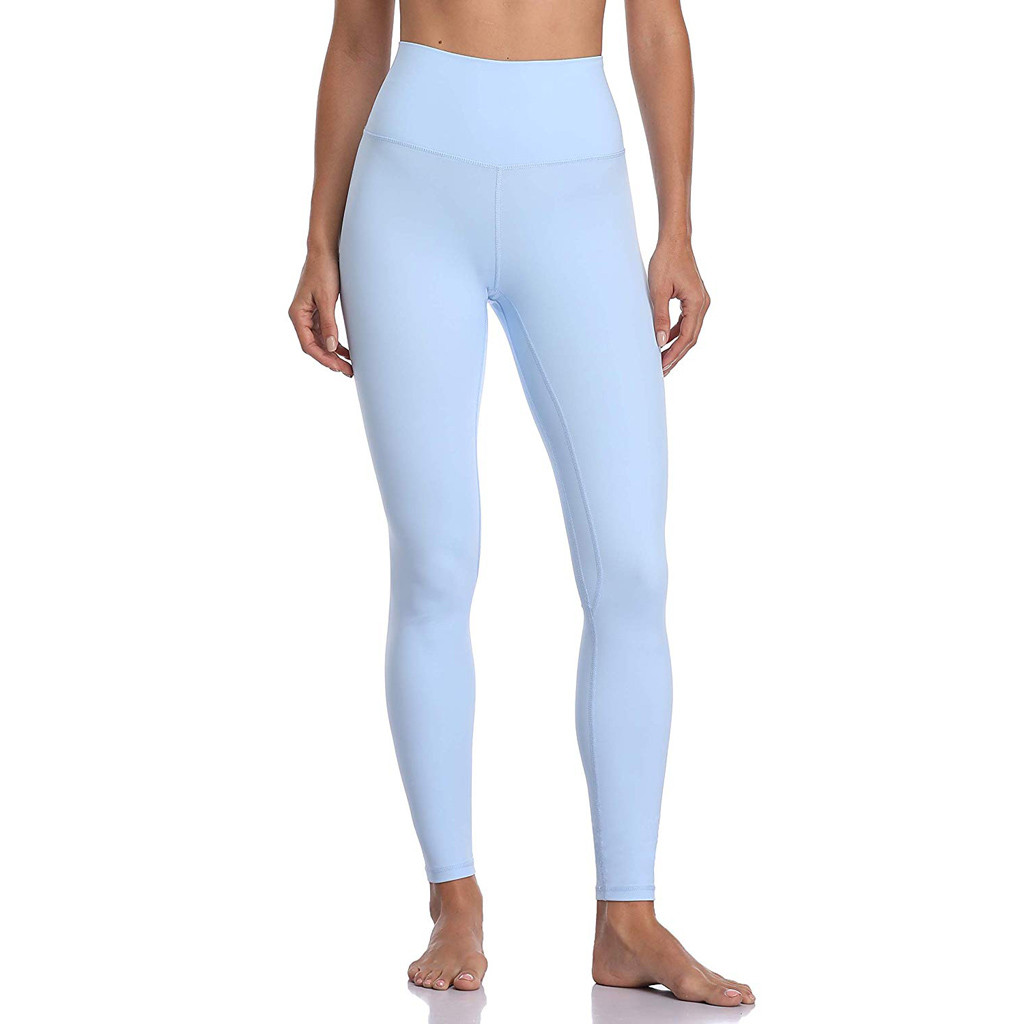 Feitong Women's Leggings Solid Color Fitness Hip Pants Sweatpants Athletic Pants Slim High Waist Casual Legging Light Blue Plus