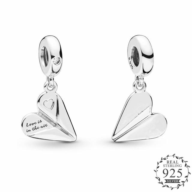 46333a10e 2019 Garden Collection Heart Paper Plane Hanging Charm Fits Pandora Bangles  Bracelets Charms Silver 925 Original Dangle Beads.