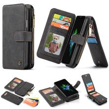 Multifunction Zipper Wallet Case For iPhone 6 6s 7 8 Plus 11 Pro Max Flip Leather  XXR XS Phone
