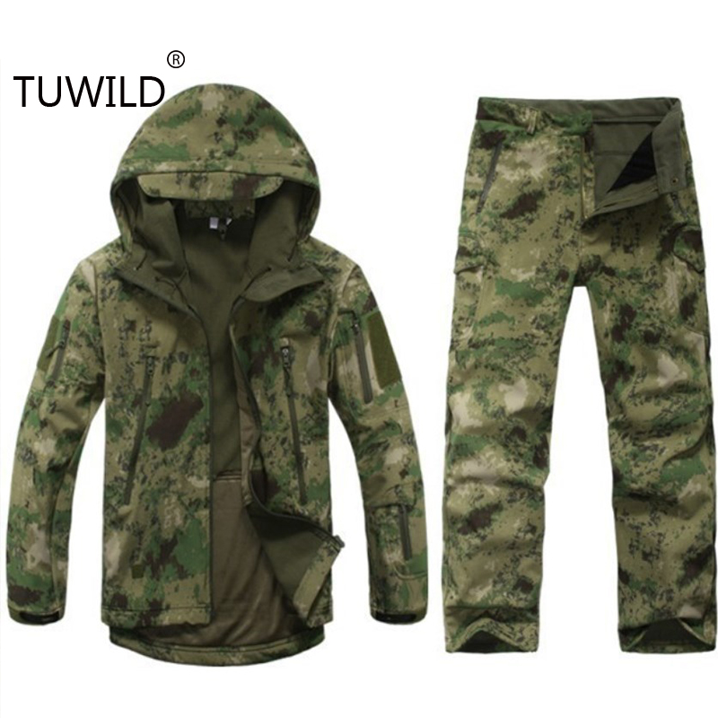 Sharkskin Out of doors Looking Ghillie Go well with Tenting Waterproof Jacket Tad4.zero Mushy Shell Fleece Jacket + Pants Sniper Camouflage