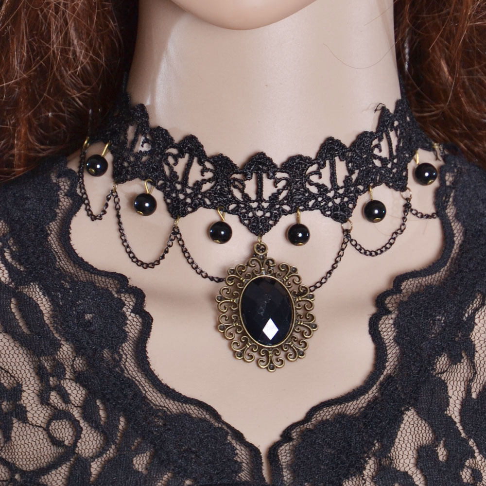 silver bling onyx goth resin necklace lolita jewelry sterling simulated cameo yl pendant skeleton