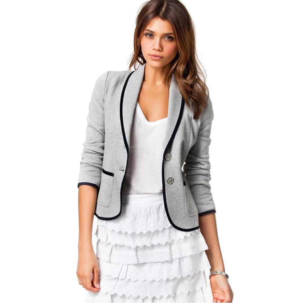 Women Blazer Long Sleeves Lapel Short Coat Jacket Outwear QL Sale