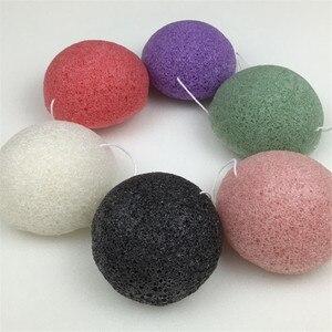 Image 2 - Konnyaku esponja de limpeza facial, ferramenta essencial de limpeza suave para cosméticos de konjac, carvão e bambu, 1 peça