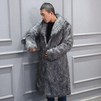 S-6XL New Fashion Men's Faux fur coat long Trench Overcoat High Imitation fox fur Coat Men Wnter Clothes