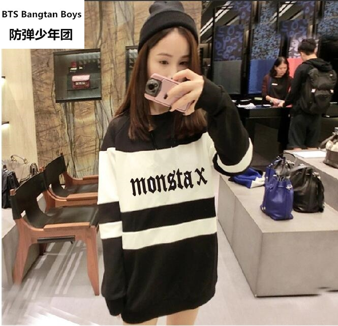 new Kpop new idol group monsta x member name printing spring autum sweatshirt fans supportive o neck pullover hoodie plus size