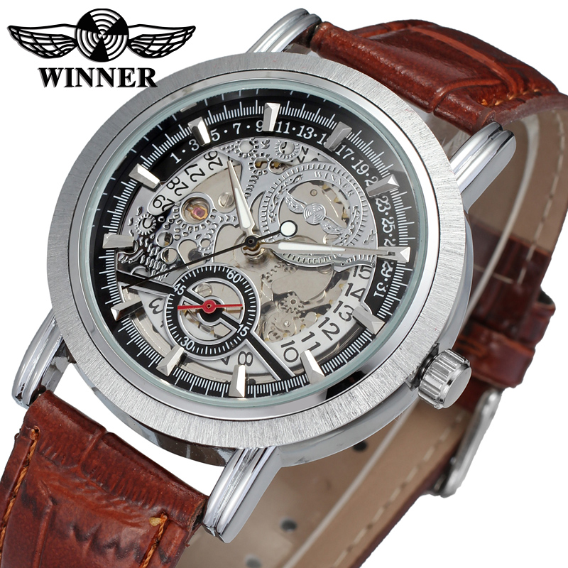 WRG8077M3S1 winner brand free shipping new arrival Automatic men silver color skeleton watch with brown leather band wristwatch купить недорого в Москве