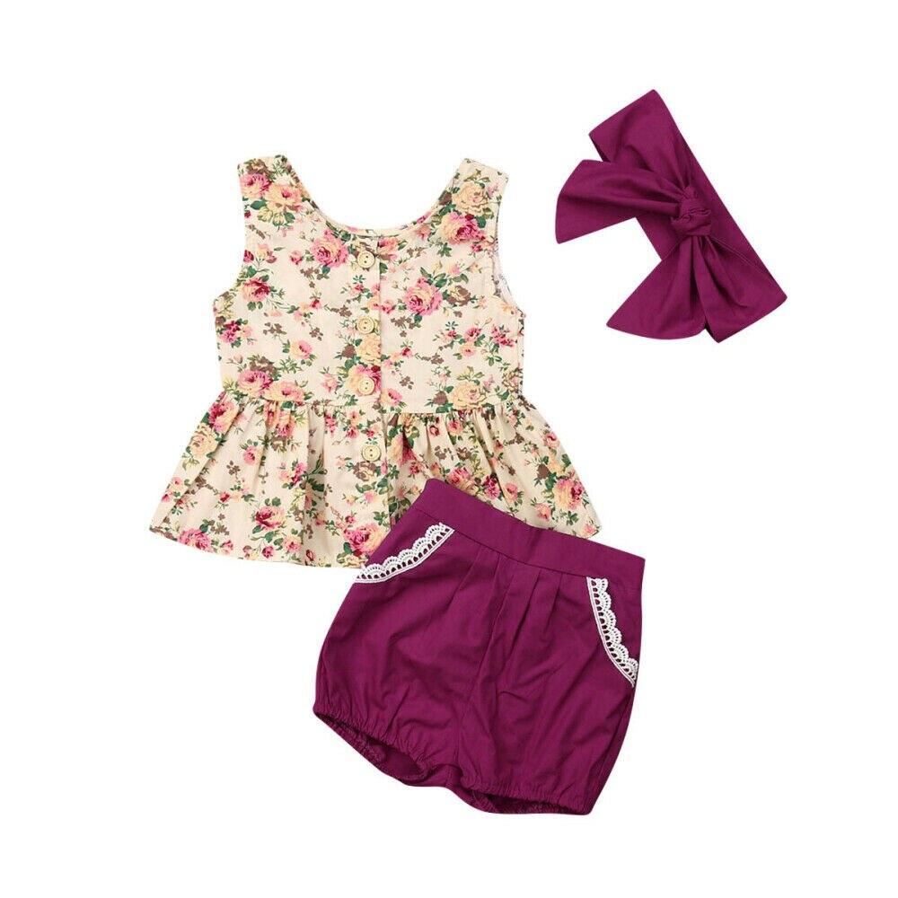 0-24 M Nette Neugeborene Baby Mädchen Ärmellose Floral Tops Spitze Shorts Hose Bottom Stirnband 3 Pcs Outfits Sommer Kleidung Set