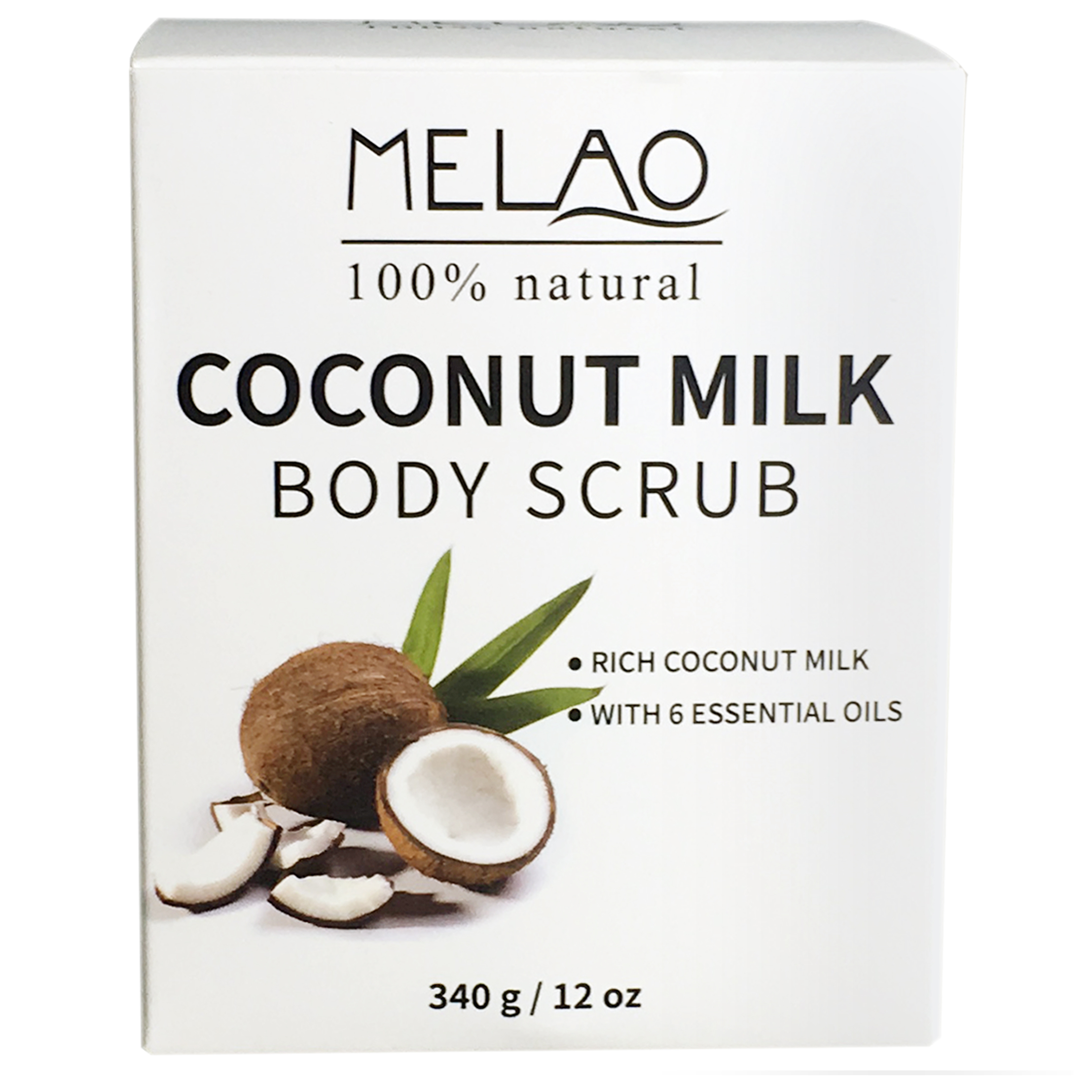 MELAO 340g/12oz 100% Natural Arabica Coconut Milk Body Scrub with Dead Sea Salt, Almond Oil and Vitamin E 2