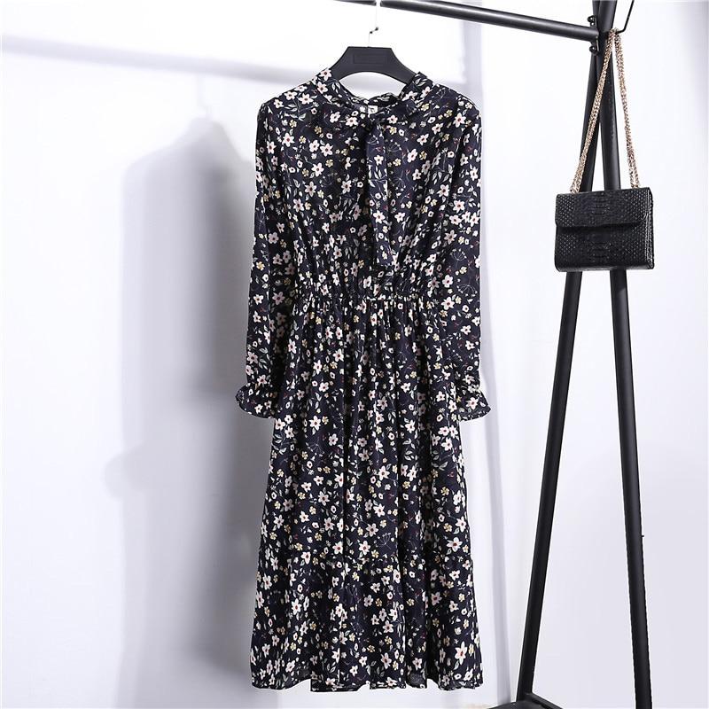 Summer Korean Chiffon Women Dress Elegant Ladies Vintage Long Dress Boho Floral Office Long Sleeve Vestidos Clothing 5LYQ003 30
