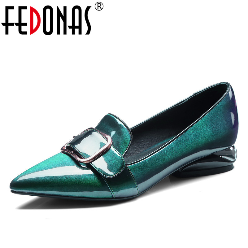 FEDONAS Top Quality High Heels Genuine Shoes 2018 Sexy Pointed Toe Buckles Fashion Patent Leather Party Shoes Woman New Pumps fedonas high quality women genuine leather shoes woman high heels sexy pointed toe silver gold wedding party shoes female pumps