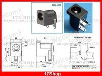 500 STÜCKE 5 5mm x 1 7mm DC buchse für 1 65mm dc stecker PCB Charger Power Stecker DC 005-in Steckverbinder aus Licht & Beleuchtung bei