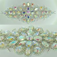 22x9.5 cm Zilver Base Clear Crystal AB Naaien Rhinestone Applique Patch Voor Trouwjurk