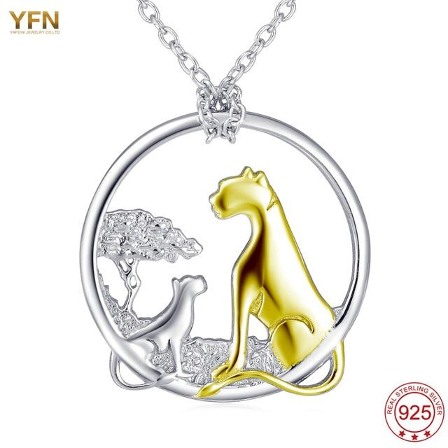 YFN Familia Leopardo Fina Plata de Ley 925 Colgante Redondo Collar de La Joyería Al Por Mayor Moda femme collier colar prata longo