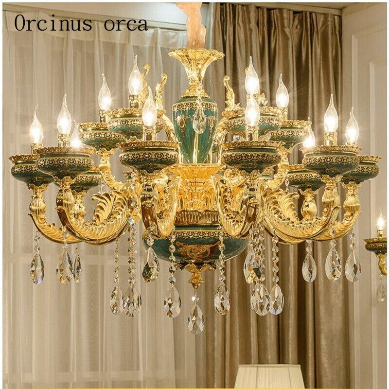 купить European style retro luxury ceramic chandelier living room crystal lamp dining room bedroom French villa glass chandeliers недорого