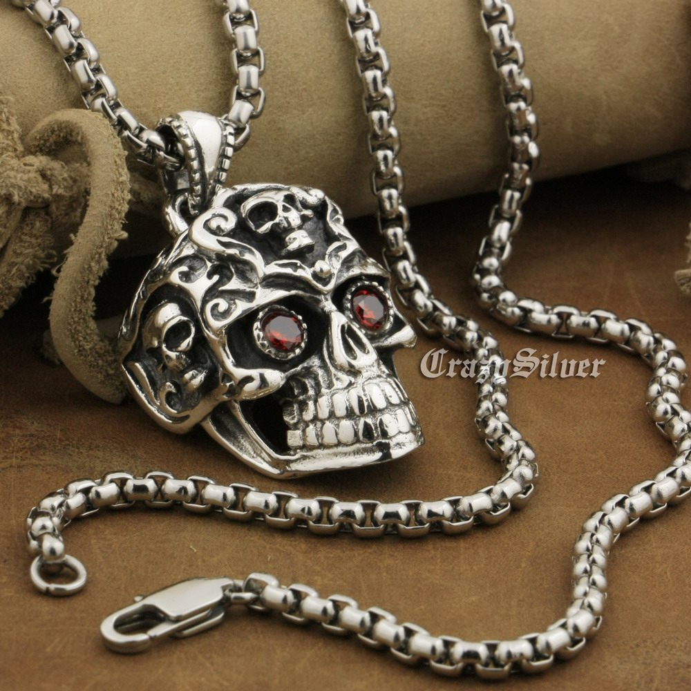 LINSION 925 Sterling Silver Red CZ Eyes Huge Smile Skull Mens Biker Rock Punk Pendant 8A035 Stainless Steel Necklace 24LINSION 925 Sterling Silver Red CZ Eyes Huge Smile Skull Mens Biker Rock Punk Pendant 8A035 Stainless Steel Necklace 24