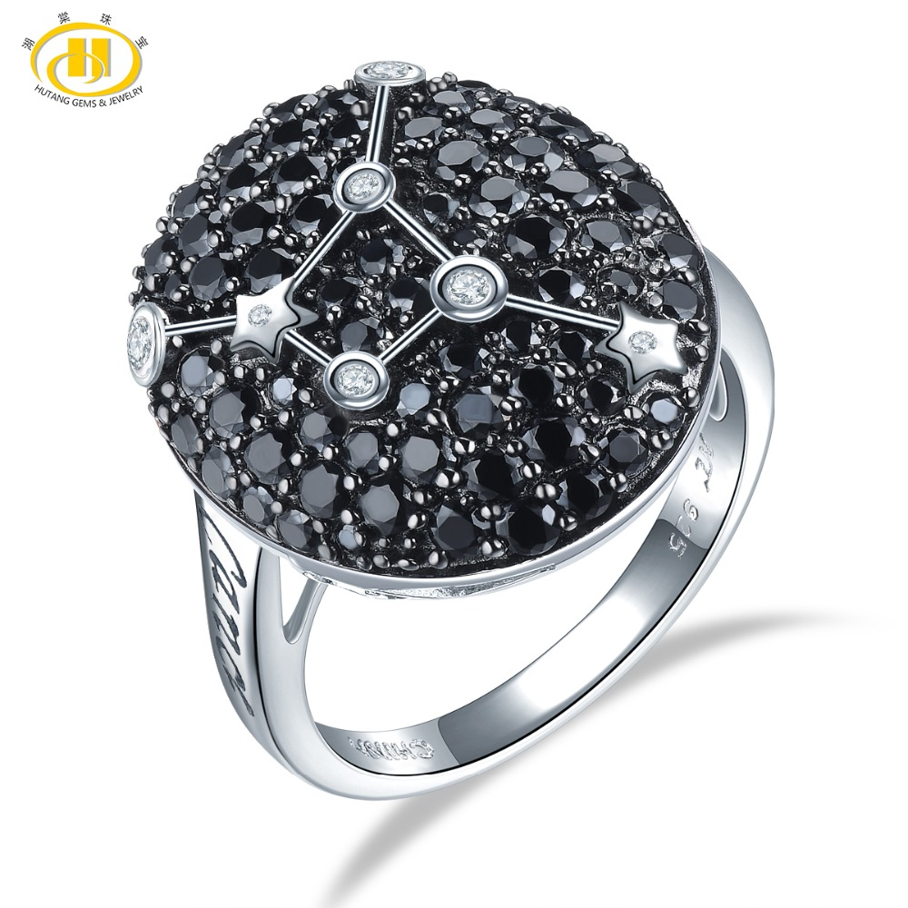 Hutang Cancer Sign Rings Natural Black Spinel 925 Silver Ring Fine Gemstone Jewelry Birthday Gift 22th
