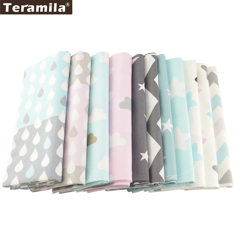 12 Designs 100% Cotton Fabric TERAMILA Bedding Patchwork Cloth For Quilting Tissu Sewing Diy Material Home Textile