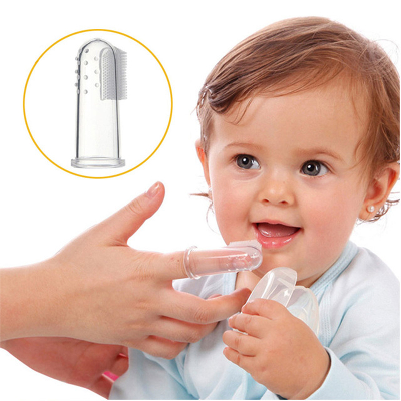Baby Kids Silicone Finger Toothbrush Children Teeth Clear Gum Brush Infant Deciduous Tooth Brush Massage Children's Tooth Brush image