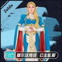 Anime! The Legend of Zelda:Breath of the Wild Zelda Princess Dress Gorgeous Uniform Cosplay Costume Halloween Suit Free Shipping