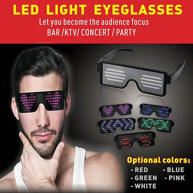 eb3f59892 LED piscando Óculos Luz Brilhante óculos de Sol Do Partido Do Aniversário  Do Natal Decoração do Festival WXV Venda