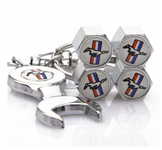 Ford Mustang Tire Valve Caps with Wrench Keychain